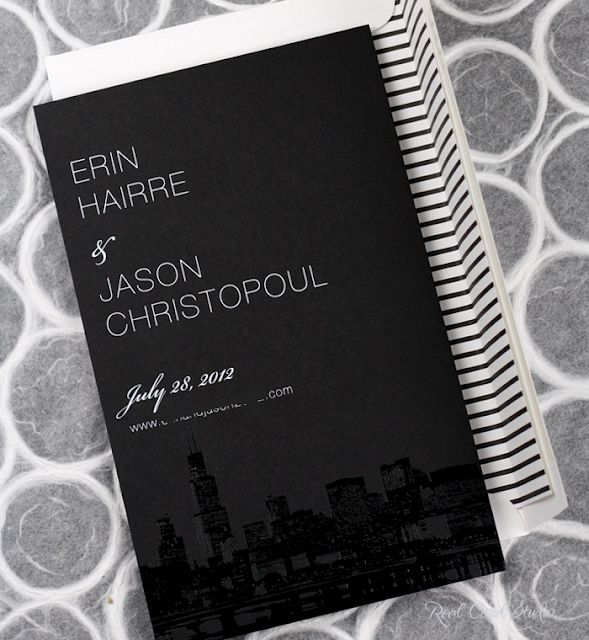 Chicago, Sears Tower, black gloss foil, white printing on black paper, striped envelope liner