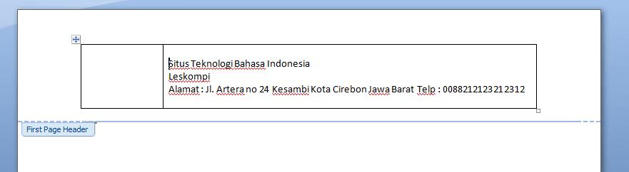 Contoh text pada tabel di Kop