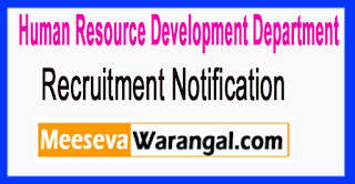 HRDD Human Resource Development Department Recruitment Notification 2017  Last Date 27-06-2017