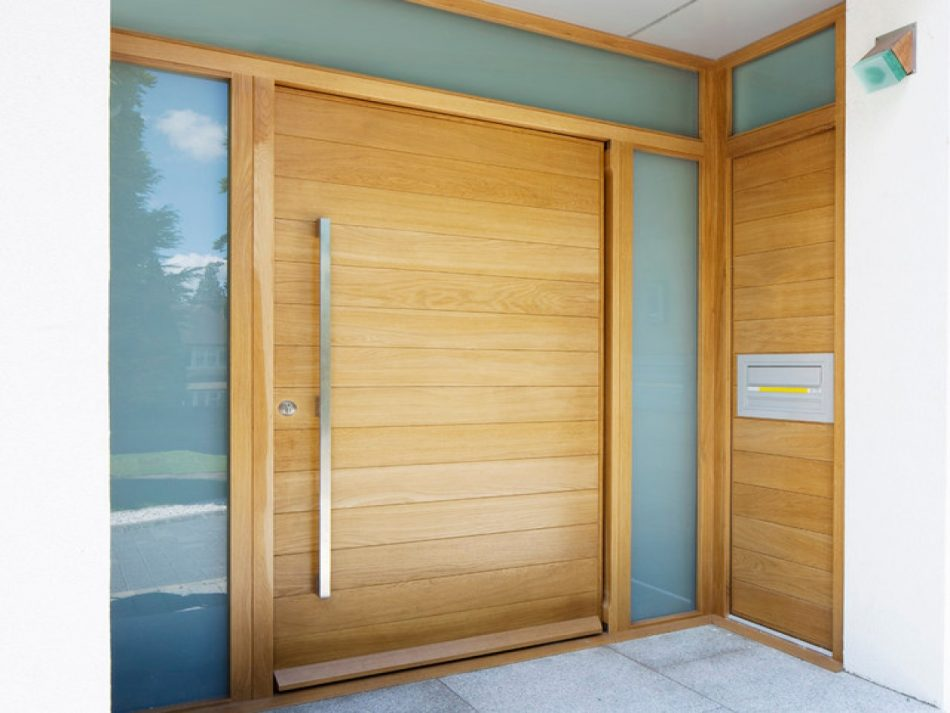 Modern front doors with one side panel decor units for Front door and side panel