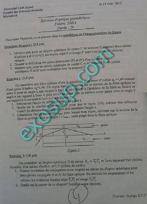 examens corrigés optique géométrique fssm 2010-2014