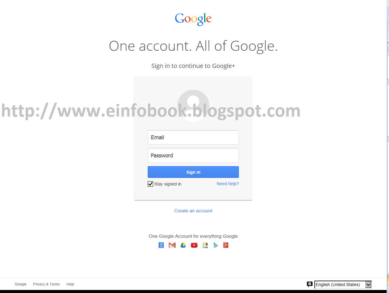 E info Book- Google Plus login page