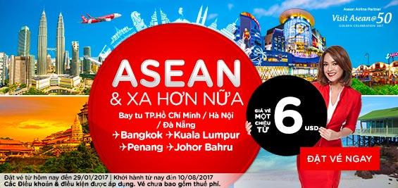Khuyến mãi bay đến Asean và xa hơn nữa từ Air Asia giá 6 USD