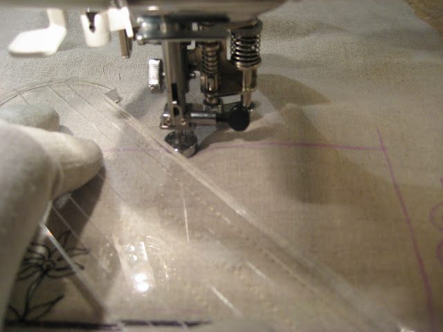 quilting with long arm rulers on a domestic sewing machine