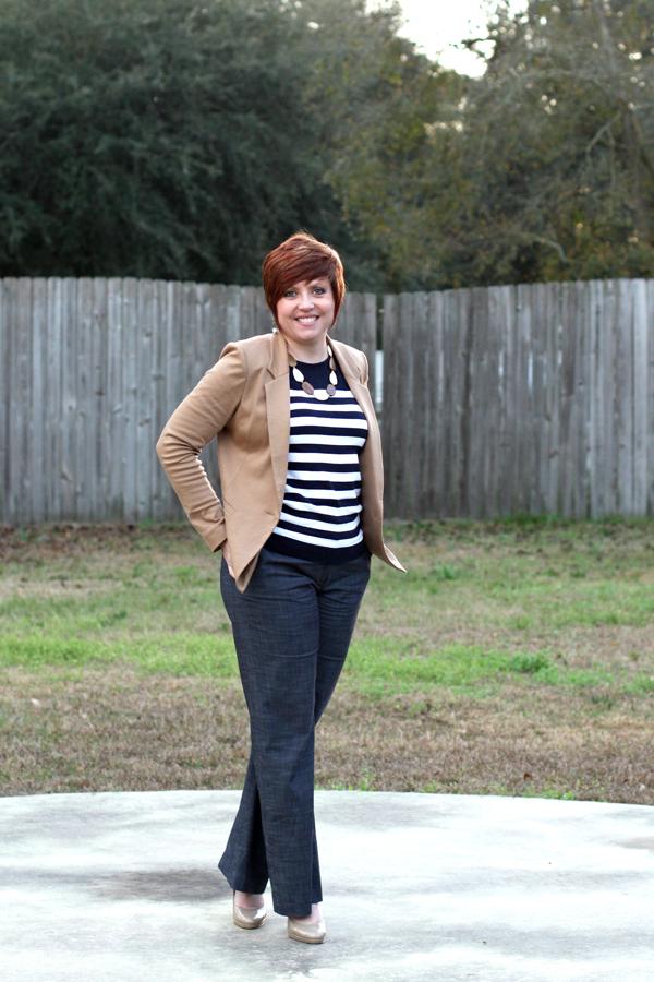 striped sweater with camel blazer