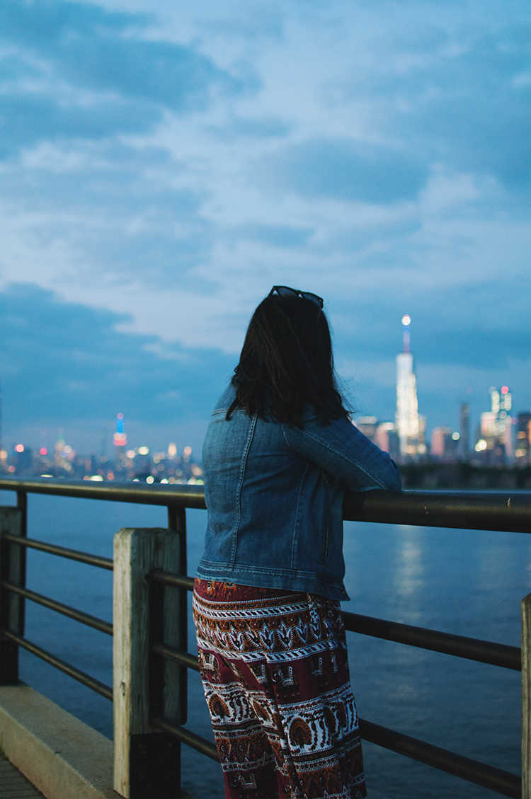 Liberty state park, j. crew denim jacket, NYC skyline outfit