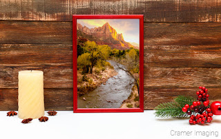 Seasonal Christmas picture of Cramer Imaging's fine art landscape photograph of Zion's National Park in Utah