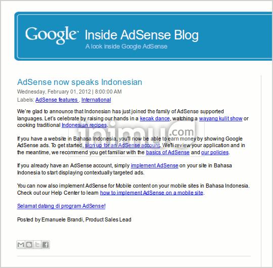 Pengumuman resmi Google Adsense dukung Bahasa Indonesia