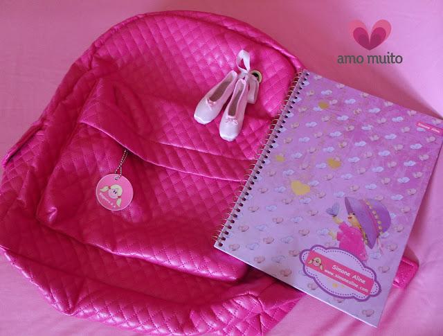 mochila rosa, amo muito, caderno rosa, caderno fofo, personalizados, bailarina, balé clássico, ballet, sapatilhas