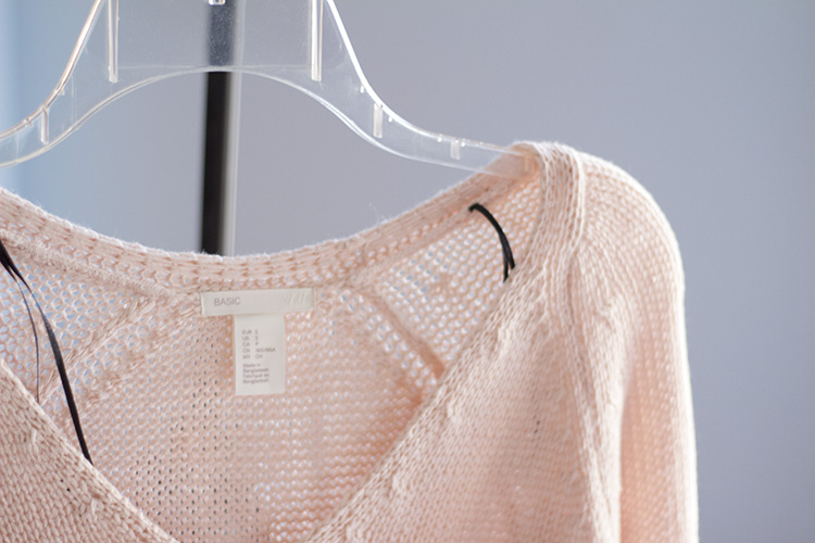 h&m knit sweater in light pink
