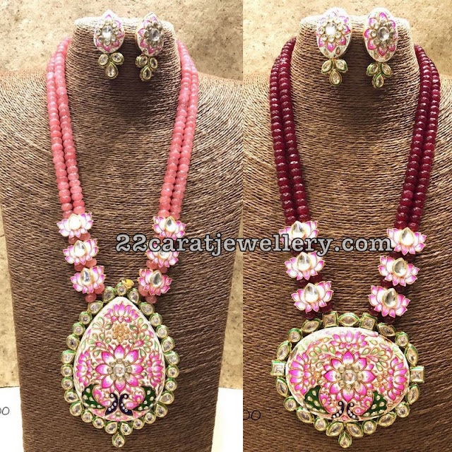 Beads Set with Meena Work Pendants