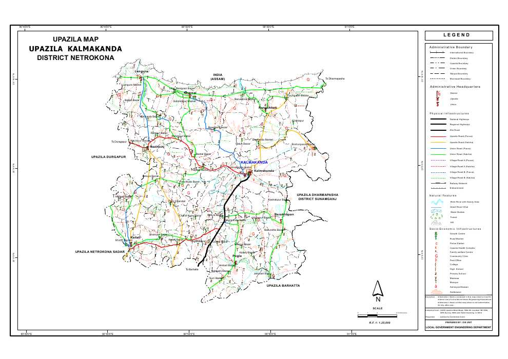 Kalmakanda Upazila Map Netrokona District Bangladesh