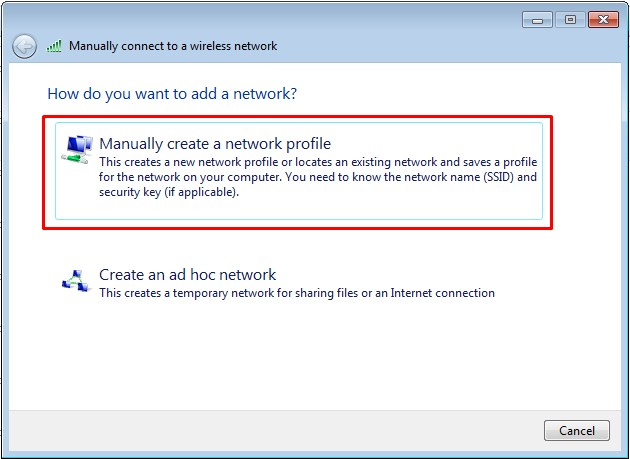 membuat wireless network secara manual