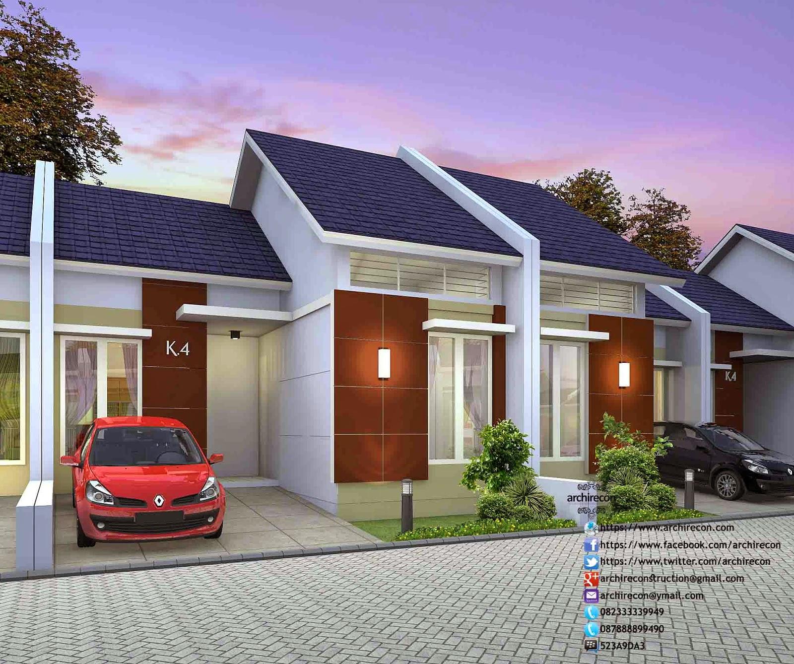 Desain Rumah Minimalis Perumahan Griya Mas Sidoarjo - 3D Tampak Type 45
