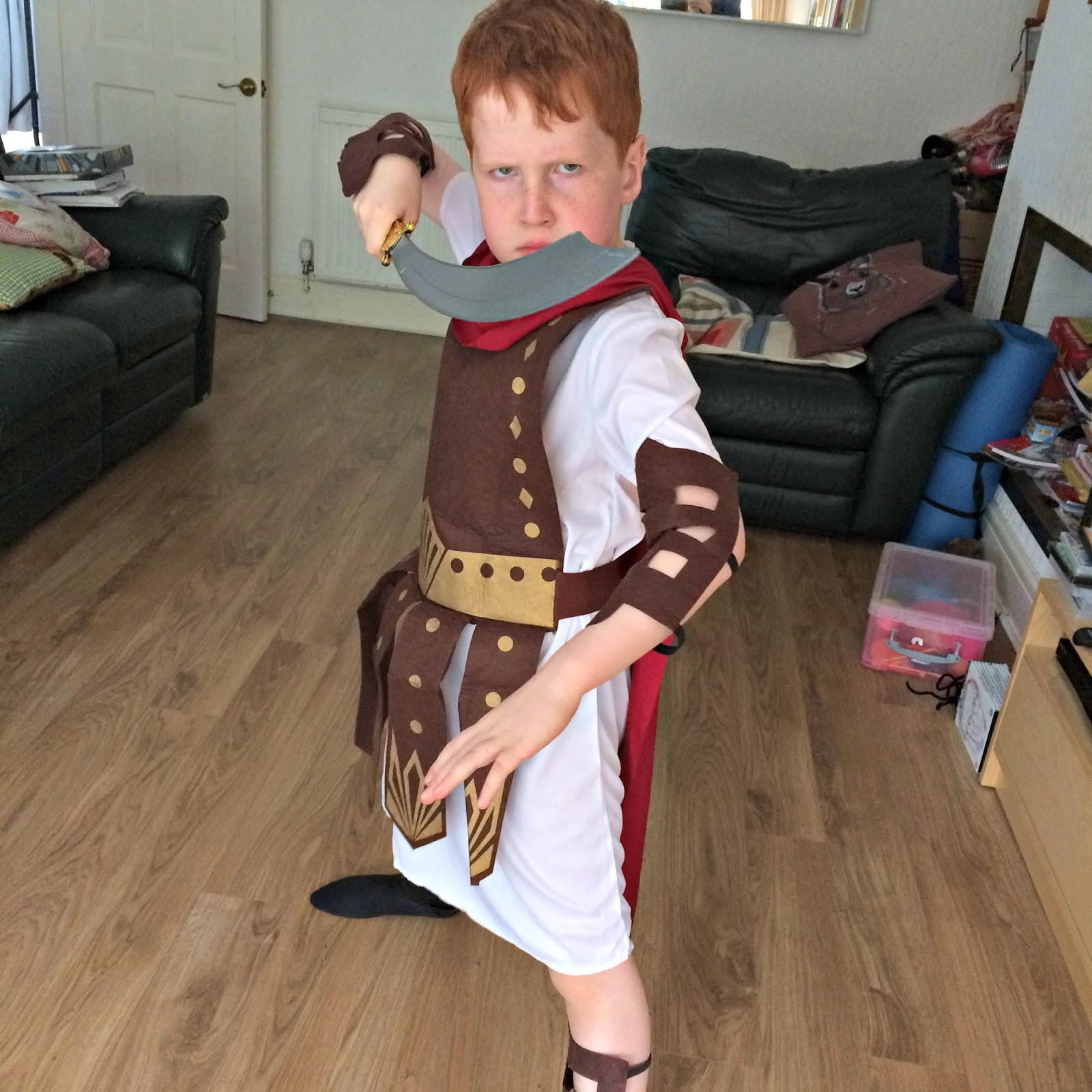 Ieuan dressed as a Roman gladiator