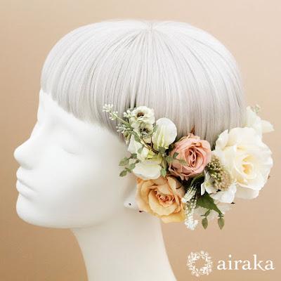 クラシックローズの髪飾り(白)‗ウェディングブーケと花の髪飾りairaka