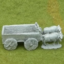 TMS13 Four Wheeled large open cart with 2 horses or Oxen and driver.