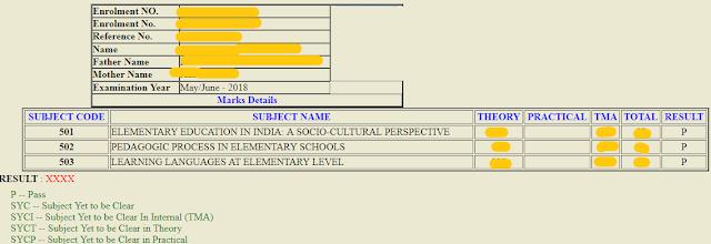 deled examination first semester result