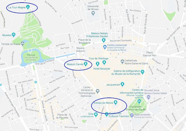 Mapa de situación de 3 monumentos romanos en Nimes