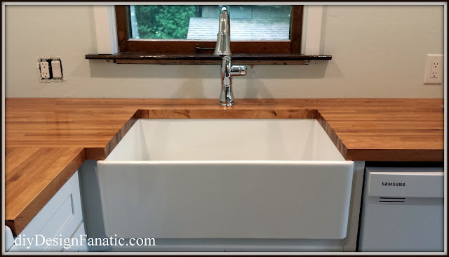 farmhouse sink, Open shelves, wood countertops, kitchen reno, mountain cottage, cottage style, cottage kitchen, farmhouse style, farmhouse, white kitchen, subway tile