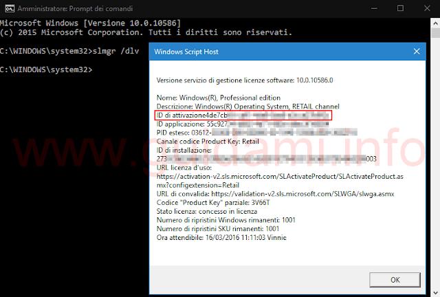 Vedere ID attivazione di Windows