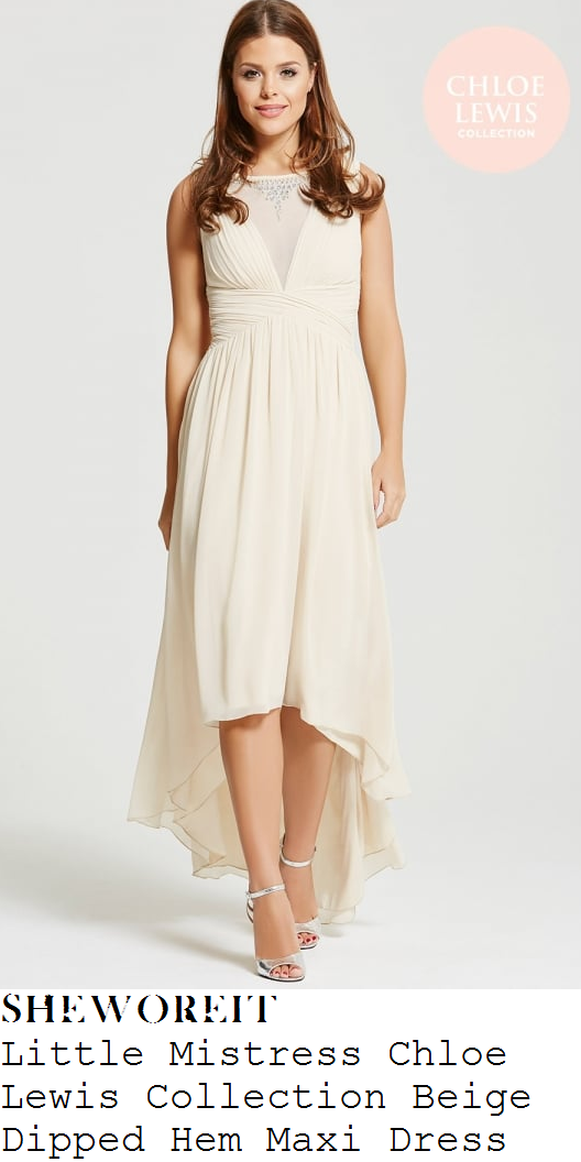 chloe-lewis-cream-beige-embellished-neckline-sleeveless-ruched-dipped-hem-maxi-dress-instagram