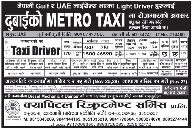 Jobs in Dubai for Nepali, salary Rs 46,590
