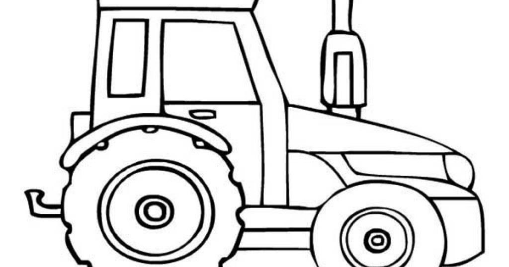 Dessins et Coloriages: Page de coloriage grand format à imprimer : un tracteur simple vue de côté