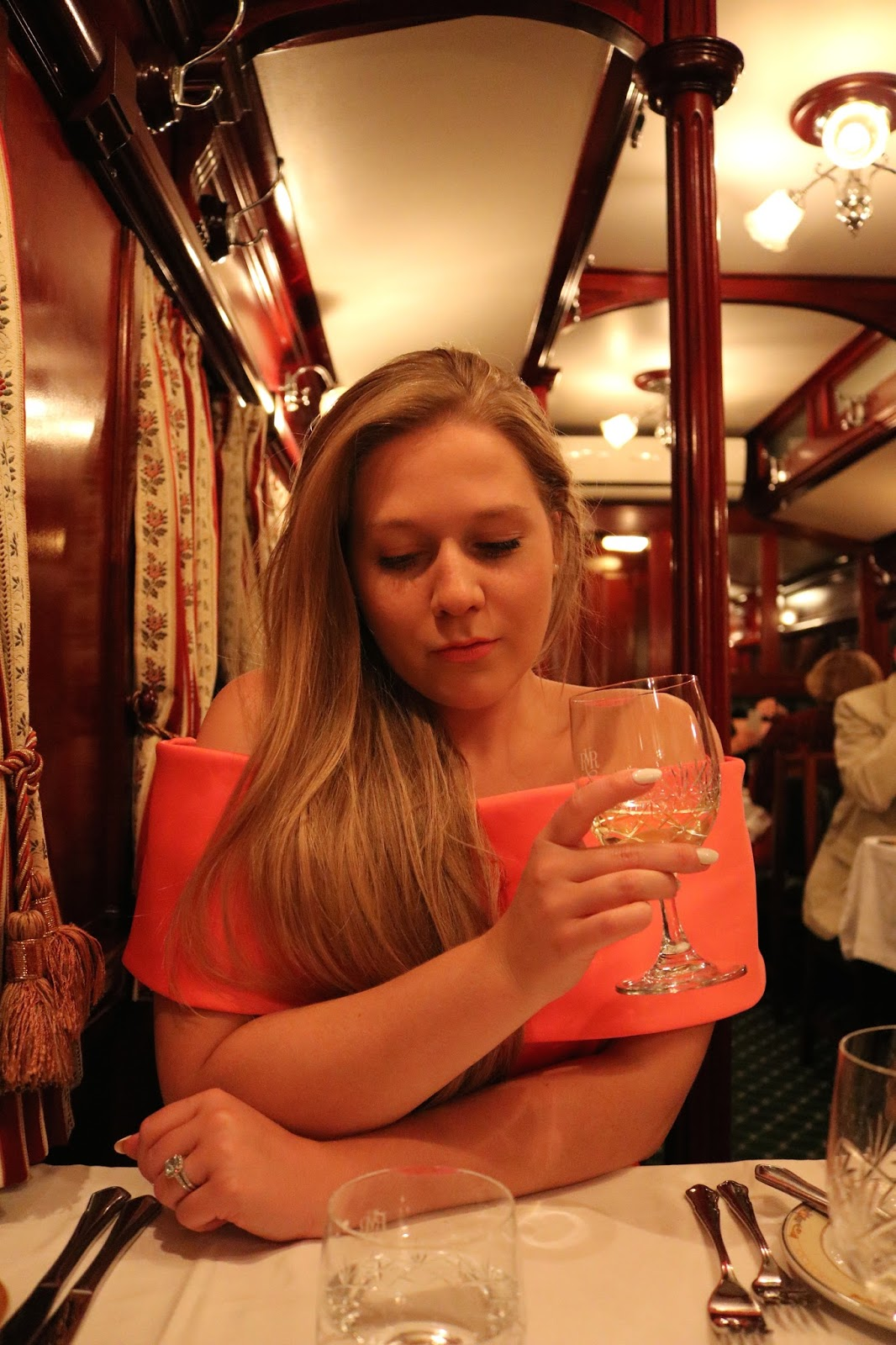 Rovos Rail, Pretoria to Durban, Katie Heath wearing a Jacques Vert dress in the dining carriage