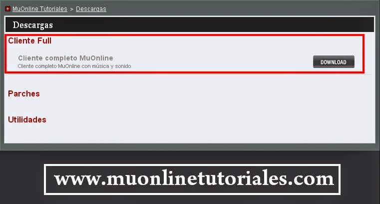 Visualizando descarga desde la página web para MuOnline