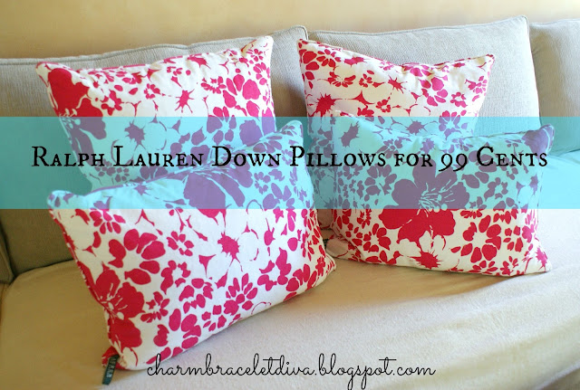 Ralph Lauren fuschia flowers down pillows