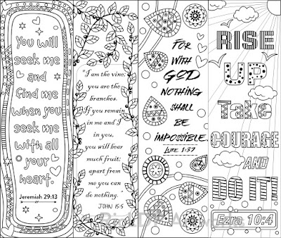 8 Bible verse coloring bookmarks doodle