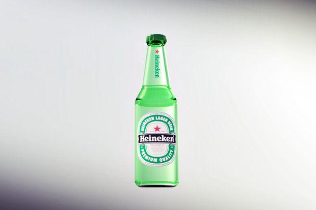 Botella Heineken diseñada con Solidworks
