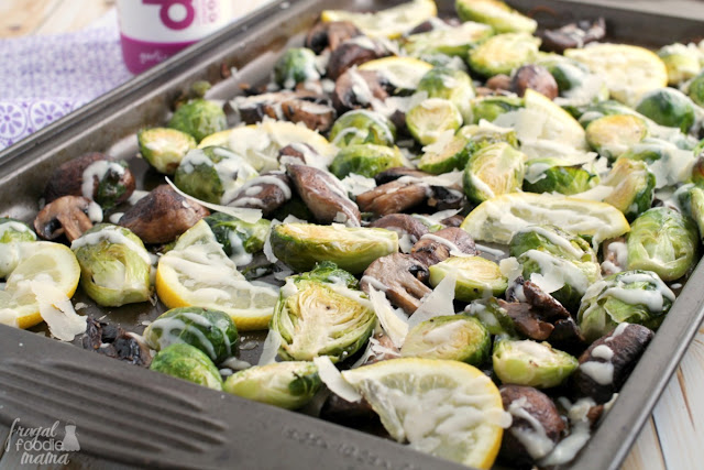 Fresh brussels sprouts & mushrooms are oven roasted until tender & caramelized & then topped with a rich & savory garlic Parmesan sauce in these Garlic Parmesan Roasted Brussels Sprouts & Mushrooms.