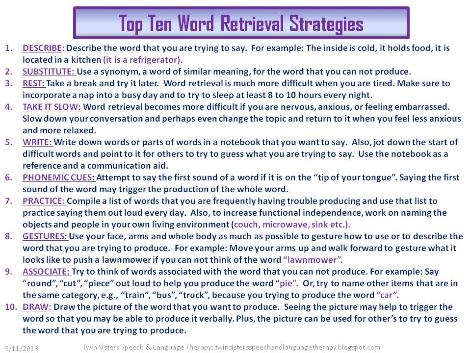 Word Retrieval Activities For Adults 97