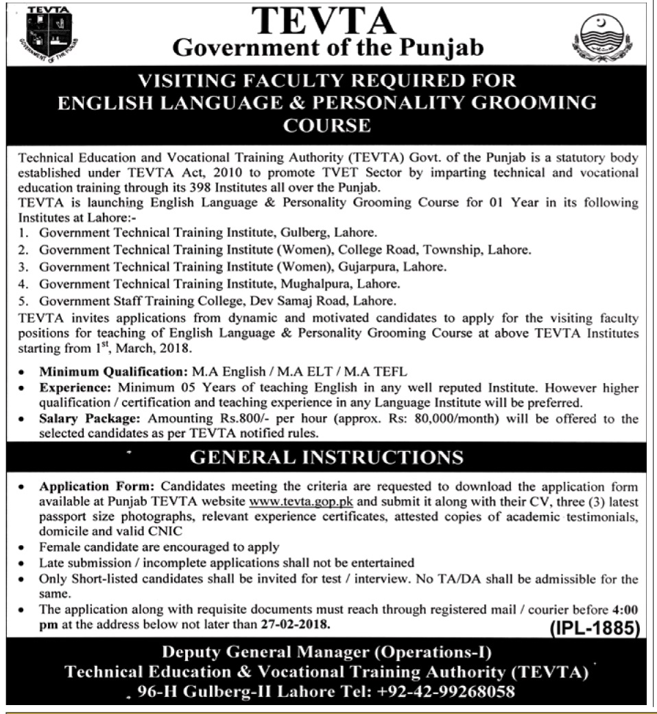 Latest Jobs in TEVTA for visiting Faculty for English Language course 2018