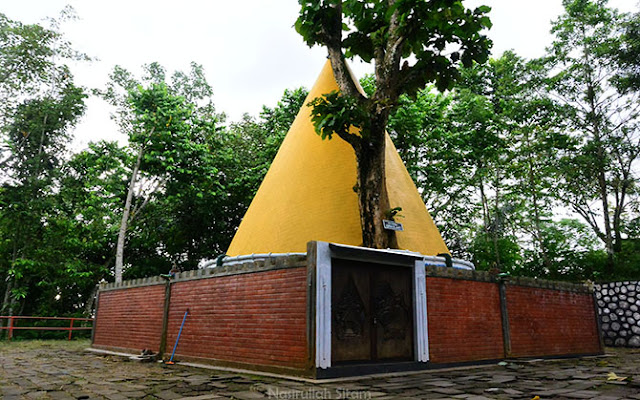 Situs dan Makan Kiyai Semar berbentuk kerucut berwarna kuning keemasan