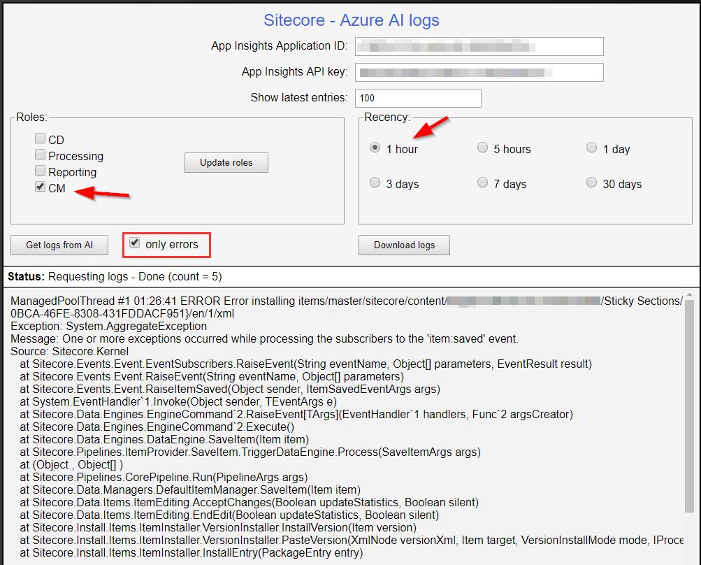 Azure PaaS Sitecore Logs using AzureAILogs html ~ Sitecore Gabe