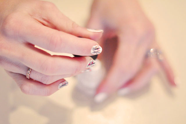nail art, branches manicure, cherry blossom nails