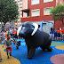 El encierro de toros hinchables confirma su éxito en el inicio de fiestas en Retuerto