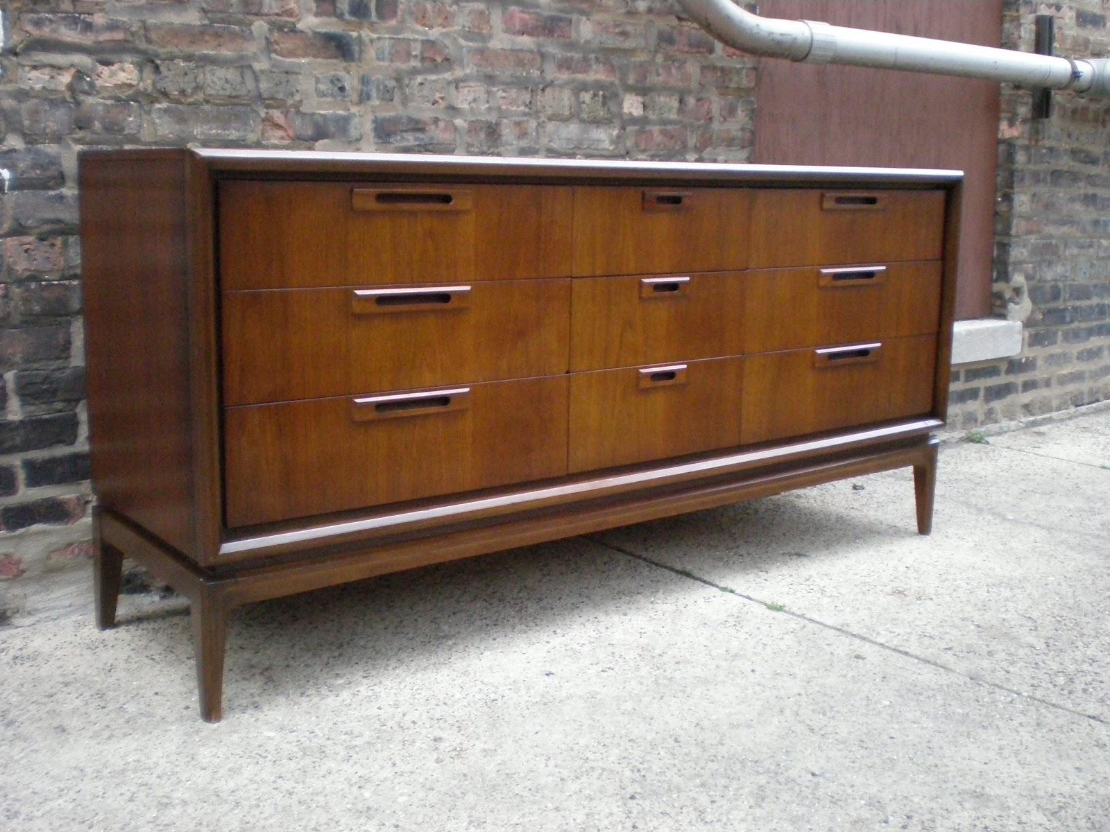 Mid Century Chicago Danish Modern 9 Drawer Lowboy Dresser
