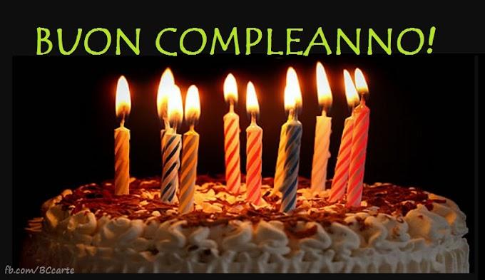 Candela accesa, torta di compleanno, saluto illustrato