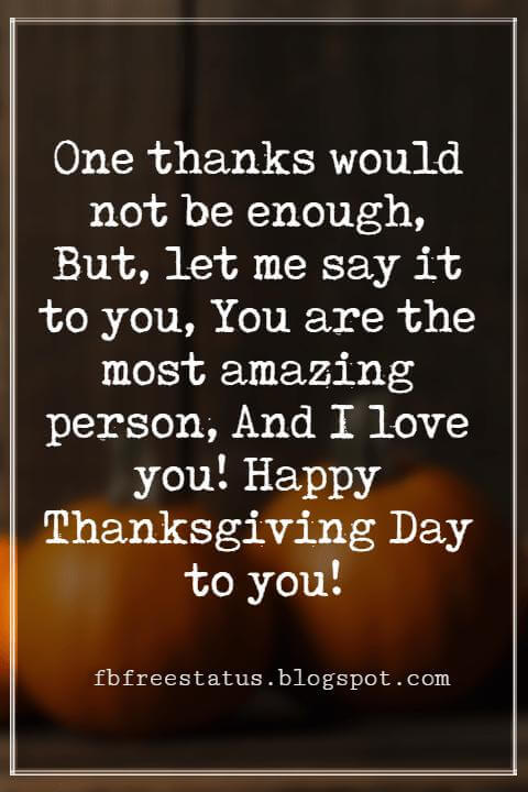 Thanksgiving Messages For Cards, One thanks would not be enough, But, let me say it to you, You are the most amazing person, And I love you! Happy Thanksgiving Day to you!