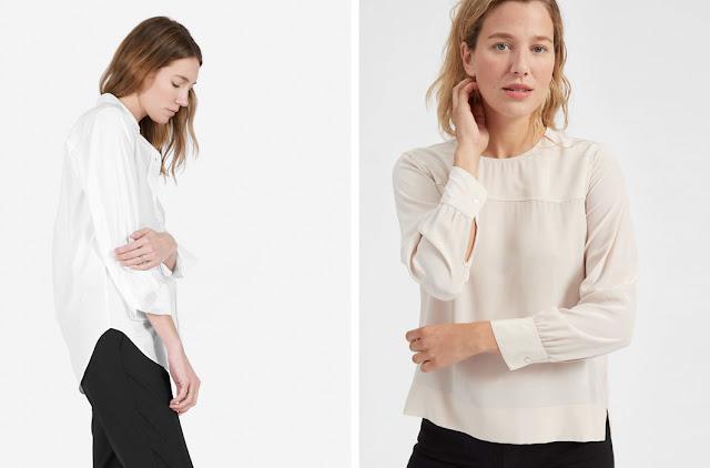 Белая рубашка и базовая белая блузка