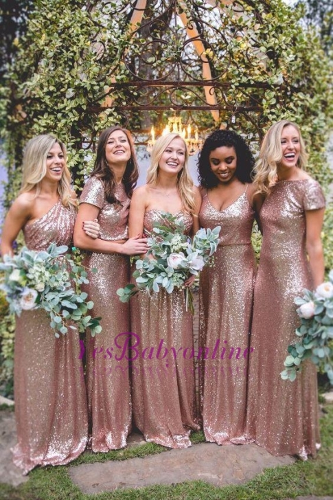 Mismatch Sequin Bridesmaid Dresses,cheap Bridesmaid Dresses Floor Length- Factory price: US $129.00