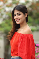 Rhea Chakraborty in Red Crop Top and Denim Shorts Spicy Pics ~  Exclusive 210.JPG