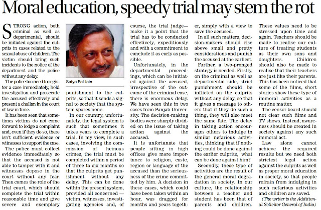 Moral education, speedy trial may stem the rot - Satya Pal Jain, Additional Solicitor General of India