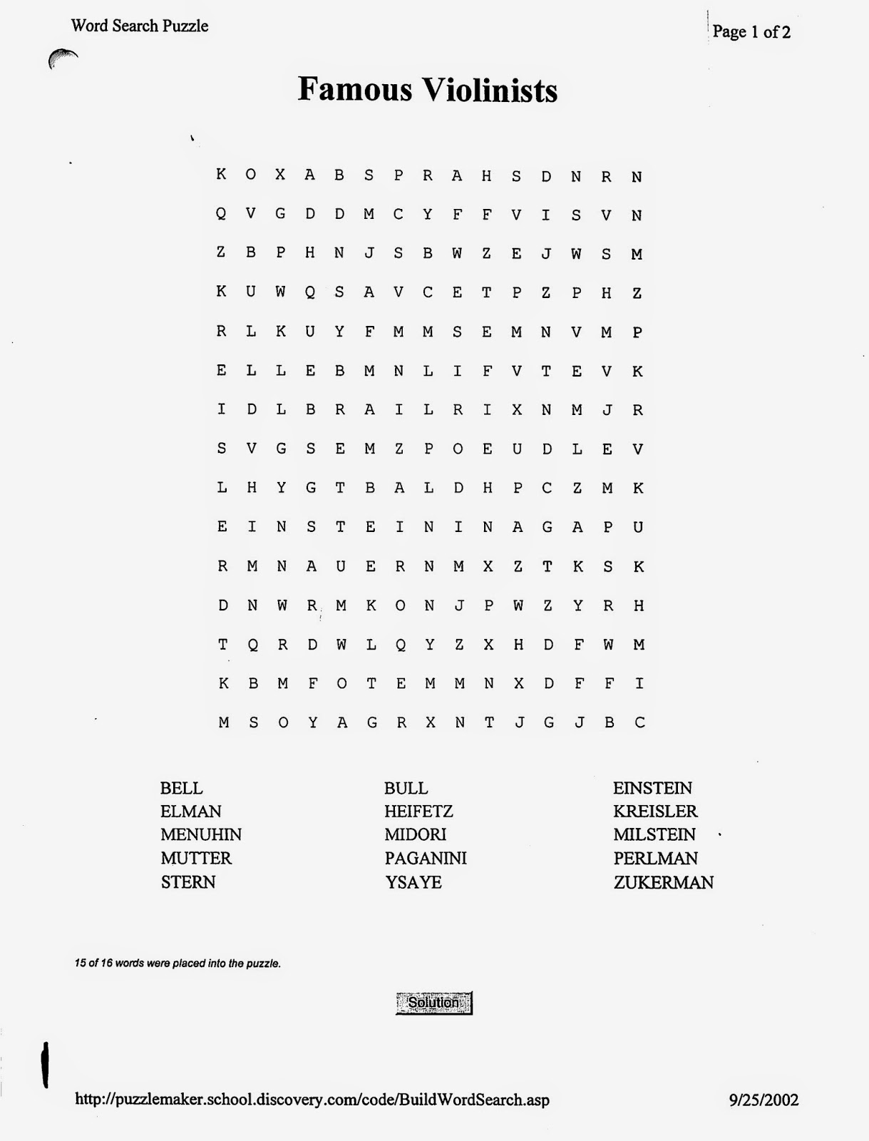 Miss Jacobson S Music Violin Word Searches