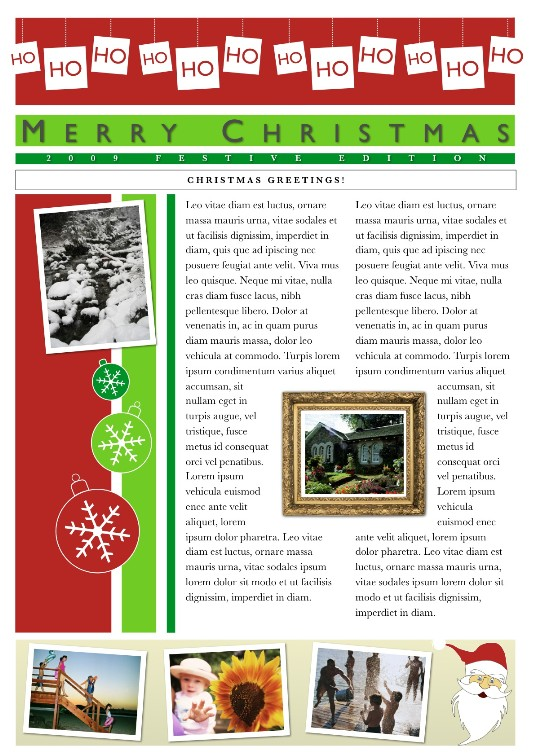Christmas Family Newsletter Template Free