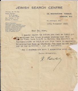 הודעה על כך שעמליה אינה ברשימת הניצולים ממחנה אושוויץ - 1946